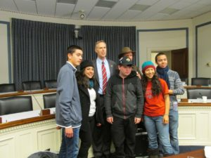 Congressman Jared Huffman with Partnership Scholars Students and mentor, Larry Sawyer