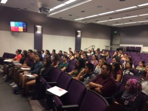 Students attending a workshop on college admissions