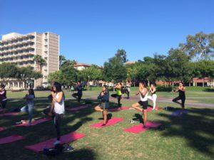 Scholars practice yoga on USC quad